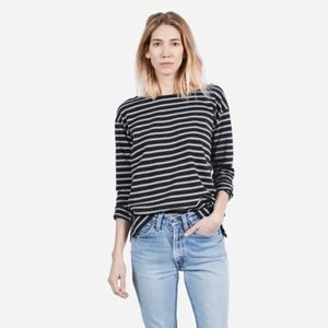 Everlane black striped boxy long sleeve tee shirt